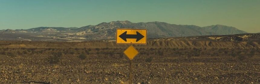A road sign in the middle of the desert with arrows pointing in either direction